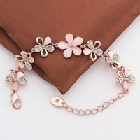 Wholesale pink rose charm for bracelets for sale - Group buy Pink Cat s Eye Opal Flower Chain Bracelet Charming K Rose Gold Plated Color Women Bracelet For Women Jewelry