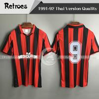 camisas personalizadas de calidad al por mayor-91 92 club milan versión retro camisetas de fútbol 1991 1992 camisetas de fútbol número MILAN personalizadas de primera calidad