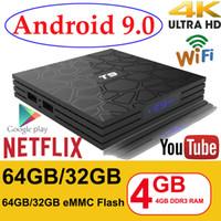 32 gb ram venda por atacado-Android 9.0 Caixa de TV T9 4 GB de RAM 32 GB / 64 GB Rockchip RK3318 1080 P H.265 Loja de 4 Jogadores do Google Netflix Youtube TV CAIXA