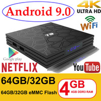 ingrosso 32 gb ram-Android 9.0 TV Box T9 4 GB RAM 32 GB / 64 GB Rockchip RK3318 1080P H.265 4K Google Player Store Netflix Youtube TV BOX