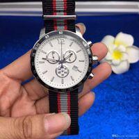 schwarze uhr tachymeter großhandel-Stahl Lünette schwarz Zeigte Tachymeter Marker Weiß Armbanduhr Chronograph Quarz-Mann-Uhr-Outdoor-Herren-Uhren Stoff Nylonband Dial