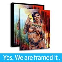 meninas nuas impressão hd venda por atacado-Art Sexy Nudes Meninas Pintura A óleo Quarto Decoração Da Parede Da Lona HD Print Figura Pintura - Pronto Para Pendurar - Emoldurado