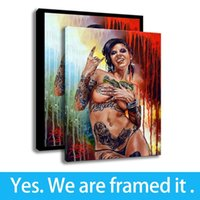 filles nues impression hd achat en gros de-Art Sexy Nus Filles Peinture À L'huile Chambre Décoration Murale Toile HD Imprimer Figure Peinture - Prêt À Accrocher - Encadré