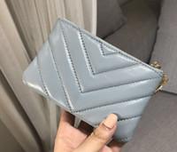 eulen tasche großhandel-New smog blau V Muster Geldbörse kurze Brieftasche rhombische Schaffell Brieftasche Eule hängen Reißverschluss Karte Tasche Geldbörse Mini Clutch Taschen Brieftaschen