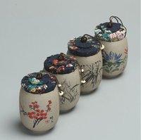 çay seramiği toptan satış-Çay Kavanoz Cad için puer Ham Çömlek Oolong Çayı çin porselen seramik kavanoz çay teneke kutu kung fu depolama göğüs