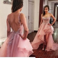 Wholesale high low dress evening ivory resale online - 2020 Dusty Pink High Low Prom Dresses Ruffles Organza Exposed Boning Backless Evening Dresses Custom Made Spaghetti Cocktail Party Dresses