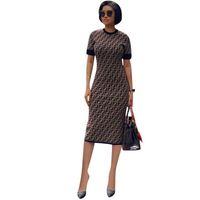 overalls frauenrock großhandel-2019 Designer Frau Sommerkleid Luxus FF Kurzarm Langes Partykleid Marke verteidigt Bodycon Rock Bodysuit Overalls Clubwear