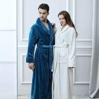 franela extra al por mayor-Extra largo más el tamaño de invierno grueso grueso franela coral polar gofre albornoz kimono hombres mujeres bata de lujo bata de baño masculina