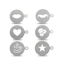 kunst werkzeug schablonen großhandel-6 Teile / satz Edelstahl Kaffee Schablone Kaffeemaschine Latte Art Mold Template Schokolade Cappuccino Barista Werkzeug