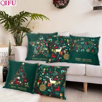 Wholesale pillowcase green for sale - Group buy Christmas Green Cotton Hot Stamping Pillowcase Christmas Decoration for Home Party Decor Kerst New Year