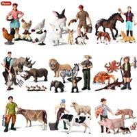 ingrosso animali da miniera giocattolo-oys Hobby Action Toy Figure Oenux Simpatici Agricoltori Modello Simulazione Zoo Farm Staff Action Figure Mucca Gallina Granchio Animali Figurina Miniature ...