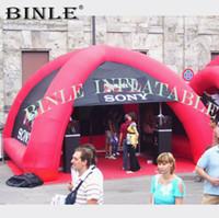 carpa roja inflable al por mayor-Impresión personalizada 4legs rojos carpa araña inflable con paredes estallan Mini gazobe evento cúpula de aire sol refugio para la publicidad