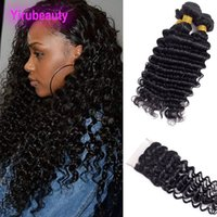 fechamento de pacote de 4pcs venda por atacado-Peruana cabelo virgem profundas onda encaracolado extensões de cabelo pacotes com 4X4 Lace Encerramento onda profunda Natural Color 4PCS
