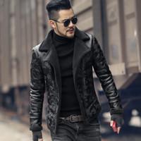 chaqueta de lana negra al por mayor-Cordero negro de lana de los hombres abrigo de piel de invierno cálido cuello de piel de camuflaje Faux Mens Chaqueta de cuero Moto de lujo delgado natural grueso