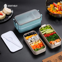caixas bento japonês venda por atacado-Popular japonesa Microwave Bento Box trigo Criança Straw Lunch Box à prova de vazamentos Bento Lunch Box For Kids Escola Food Container