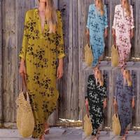 Wholesale women tongs for sale - Group buy Beach Pareos Woman Beachwear Cape Skirt Swimsuit Dress Kaftan Tong Neck Irregular Digital Print Quantities Cotton