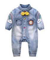 Wholesale rainbow baby boys clothing resale online - Fashion Infant boys denim romper kids clouds rainbow raindrops embroidery jean jumpsuits baby boys Bows tie cowboy climb clothes F9300