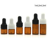 viales para aceites esenciales al por mayor-1000pc 1ml 2ml 3ml Botellas cuentagotas de vidrio ámbar Botella de aceite esencial Pequeños frascos de perfume Muestreo Botella de almacenamiento RRA1981