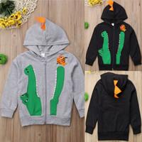 erkek dinozor ceketi toptan satış-Yürüyor Boy Karikatür Hoodie Çocuklar Çocuk Dinozor Timsah Işlemeli Kazak Çocuk Tasarımcı Giyim Erkek Güz Kış Uzun Kollu Ceket 06