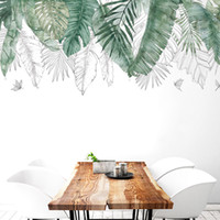 виниловые наклейки оптовых-Свежий натуральный зеленый тропический Рафия листья дерева стикер стены винил DIY росписи наклейки для гостиной Спальня наклейки на стены