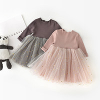 Wholesale children models baby clothing resale online - Spring Models Childrens Clothing Korean Style Girls Princess Dress Children Baby Girls Spell Five Pointed Star Mesh Long Sleeve Dress