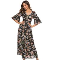 Wholesale beach works clothing online - Floral Dress Plus Size Ruffled Boho Plus Size Dress Beach Summer Maxi Dresses Chiffon V Neck Sexy Long Vestidos Clothes New