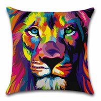наволочки для гостиных оптовых-Lion printed Animals colorful cushion cover Throw Decor Chair seat sofa Decorative Home kids friend living room gift Pillowcase