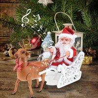 ingrosso bambini auto giocattolo elettrico-Babbo Natale bambola Elk slitta giocattolo auto elettrica universale con la bambola del giocattolo di musica dei bambini dei bambini di Natale elettrico casa natale Decor Gifts T191010