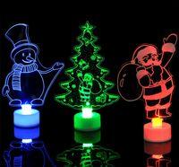 akrilik led yılbaşı toptan satış-3 Stiller Noel LED Flaş Noel Baba Noel ağacı Kardan Adam Aydınlatma Değişim Renk Akrilik Lamba Parti Dekorasyon L358