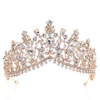 accesorios del pelo de la rosa del cristal al por mayor-Rhinestone de lujo tiara coronas de cristal accesorios nupciales del pelo de la boda quinceañera desfile prom reina tiara princesa corona