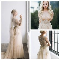Wholesale wedding dress beading patterns for sale - Group buy Luxury Jewel Champagne Gold Long Sleeve Princess Gown Wedding Dress Appliques Pattern Beading A Line Bridal Gown Meerjungfrau Brautkleider