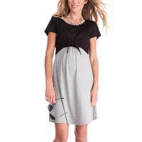 vestidos cortos para embarazadas al por mayor-Vestidos de maternidad embarazadas Vestidos maternales de manga corta Vestidos de costura Ropa de maternidad Falda de longitud media 58