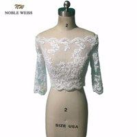 gelin bolero ceket boncuk toptan satış-NOBLE WEISS Boncuk Düğün Bolero Ceket Yeni Kapalı Omuz 3/4 kollu Dantel Gelin Düğün Ceketler Kadın Düğün