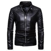куртки прохладно воротник оптовых-Cool Men's PU Leather Jacket Black Stand Collar Autumn Winter Outerwear Slim Fit Simple Business Style Man Coat Windproof