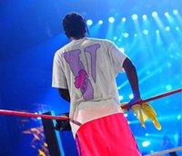 mavi baskı gömlek toptan satış-Vlone ARKADAŞLAR Baskılı Kadın Erkek T Shirt Tees Hiphop Streetwear Mavi Arkadaşlar Vlone Pamuk Kısa Kollu Erkek T Gömlek