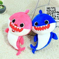 Wholesale singing plush for sale - Light Can Sing Baby Shark Doll Multi Color Plush Toys Shine Soft Lovely Big Mouth Fish Toy Large Eyes White Belly zlb1