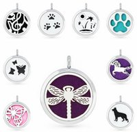 1PCS Dragonfly Horse Dog Butterfly Paw Owl 30MM Diffuser Locket Magnet Perfume Pendant With 1pcs Free Pad XA003-408