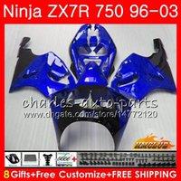 ingrosso kit corporeo per zx7r-Corpo per KAWASAKI NINJA ZX-750 ZX-7R ZX750 stock blu caldo ZX 7R 96 97 98 99 28HC.62 ZX 7 R ZX 750 ZX7R 1996 1997 1998 1999 2000 Kit carenatura
