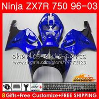 98 kawasaki ninja zx7r verkleidung großhandel-Körper für KAWASAKI NINJA ZX-750 ZX-7R ZX750 stock blau heiß ZX 7R 96 97 98 99 28HC.62 ZX 7 R ZX 750 ZX7R 1996 1997 1998 1999 2000 Verkleidungssatz