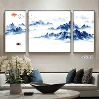 китайская картина пейзажа оптовых-Гостиная спальня тройной пейзаж декорации украшение картины китайский стиль классический стиль мода красота живописи тушью