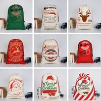 bebek çantaları renkleri toptan satış-Bebek Noel Hediye Çanta 31 Renkler Moda Büyük Ağır Tuval Şeker Çanta Yaratıcı Çocuklar Santa İpli Çanta TTA1556