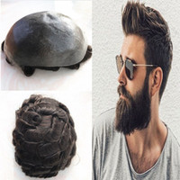 Thin Pu Human Hair Mens Toupee Full Pu Toupee For Men Hairpiece Thin Skin Toupee Replacement System Natural Hair Brown Wave Men Wig