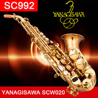 bas bakır toptan satış-YANAGISAWA Üst Kavisli Soprano Saksafon SC992 Fosfor Bronz Bakır Soprano Bas Sax Saxofone Profesyonel kılıf ile Ağızlık