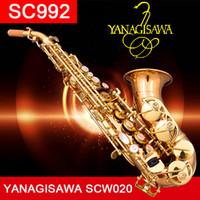 saxofones de soprano venda por atacado-YANAGISAWA Top Curvo Saxofone Soprano SC992 Fósforo Bronze Soprano Cobre Sax Saxofone Profissional com estojo Bocal