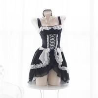 ingrosso costume gotico lolita anime-Lolita Sweet Gothic Dress Cute Anime Maid Costumes Lingerie Chiffon Ruffle Bikini Set per le donne Sexy lingerie Tentazione uniforme