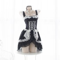 disfraz gótico lolita anime al por mayor-Lolita Sweet Gothic Dress Cute Anime trajes de mucama Lencería de gasa con volantes Bikini Set para mujer lencería sexy uniforme tentación