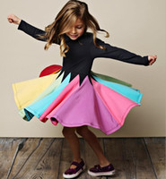 Wholesale rainbow dresses for kids for sale - Group buy Fall Winter Rainbow Long Sleeve Cotton Patchwork Dress Cute Baby Girl Cotton Party Dresses for Kids Princess Girls Casual Dress Xmas Gift