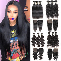 Wholesale straight human hair 24 inches for sale - Brazilian Virgin Hair Bundles with x4 Lace Closures Straight Human Hair Weave Bundles with Closure Kinky Deep Curly Water Body Wave