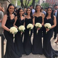 Wholesale blue beaded top bridesmaid dresses resale online - 2019 Black Spaghetti Straps Satin Mermaid Long Bridesmaid Dresses Lace Top Beaded Sweep Train Wedding Guest Maid Of Honor Dresses BM0908