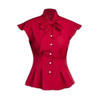 alta pajarita de algodón al por mayor-Womens Casual camisa de algodón suelta blusa Tops alta calidad 2019 verano Bow Tie cuello blusa sin mangas trabajo de oficina elegante camisa ocasional